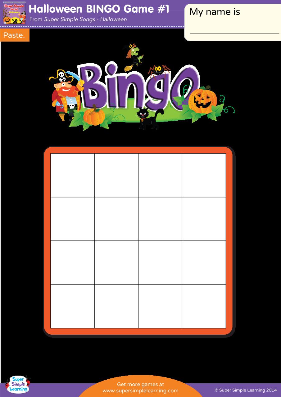 Halloween Bingo Game 1 Super Simple