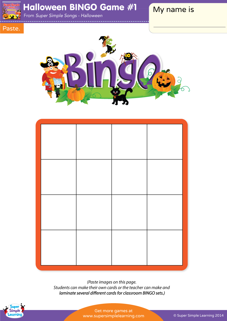 Halloween BINGO Game 1 Super