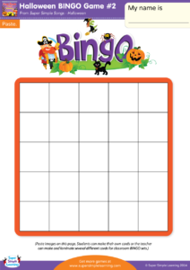 Halloween bingo game 2 super simple make your own halloween bingo cards with this do it yourself set cut out the small pictures and glue them onto the board kids can make their own board solutioingenieria Images