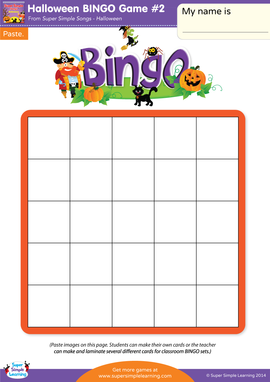 Ants In My Car >> Halloween BINGO Game #2 | Super Simple