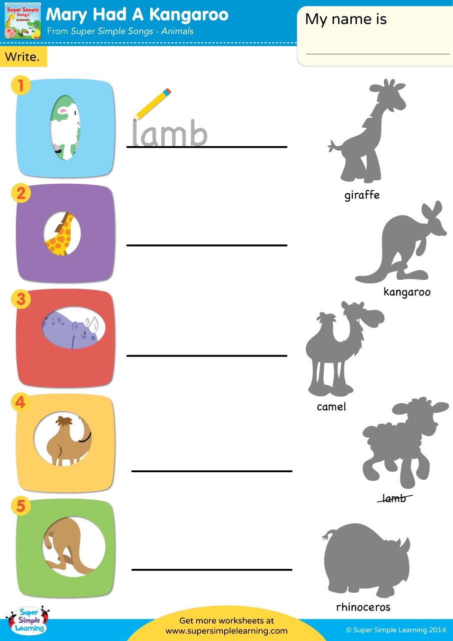 Mary Had A Kangaroo Worksheet Write Super Simple