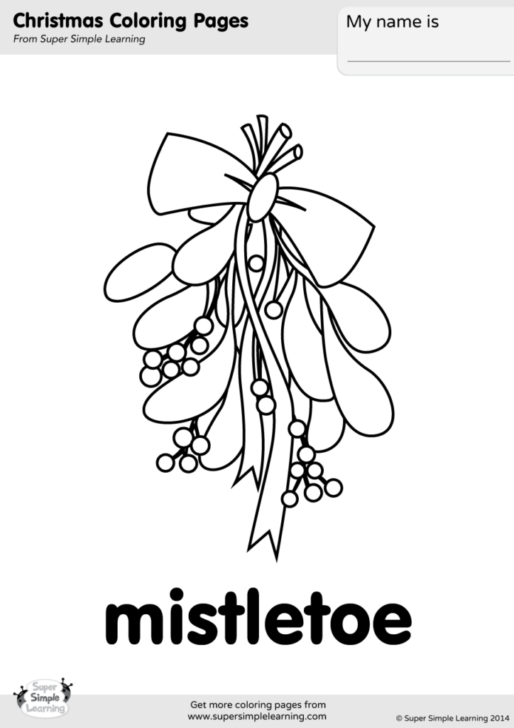 Mistletoe Coloring Page Super Simple