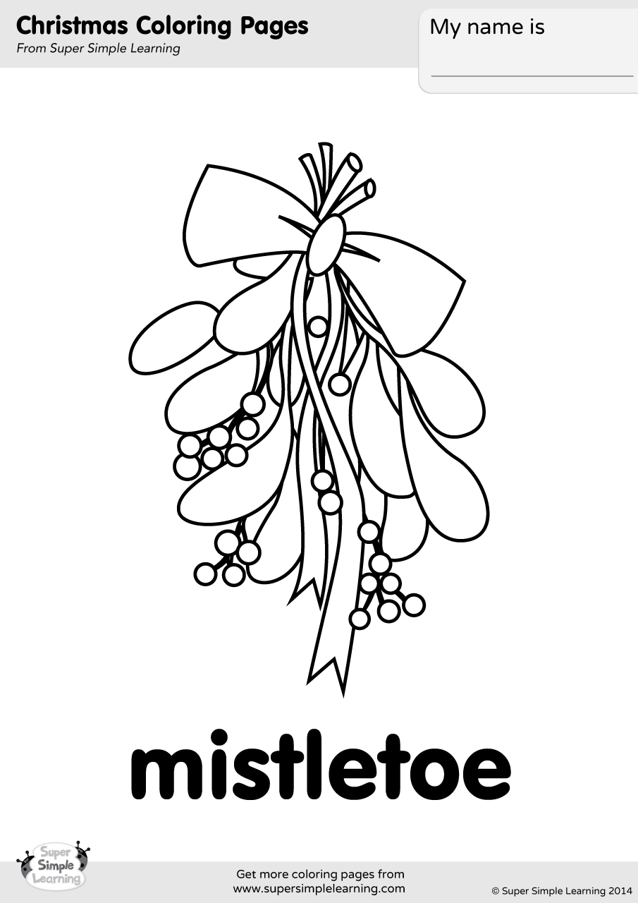 coloring pages of the | Mistletoe Coloring Page - Super Simple