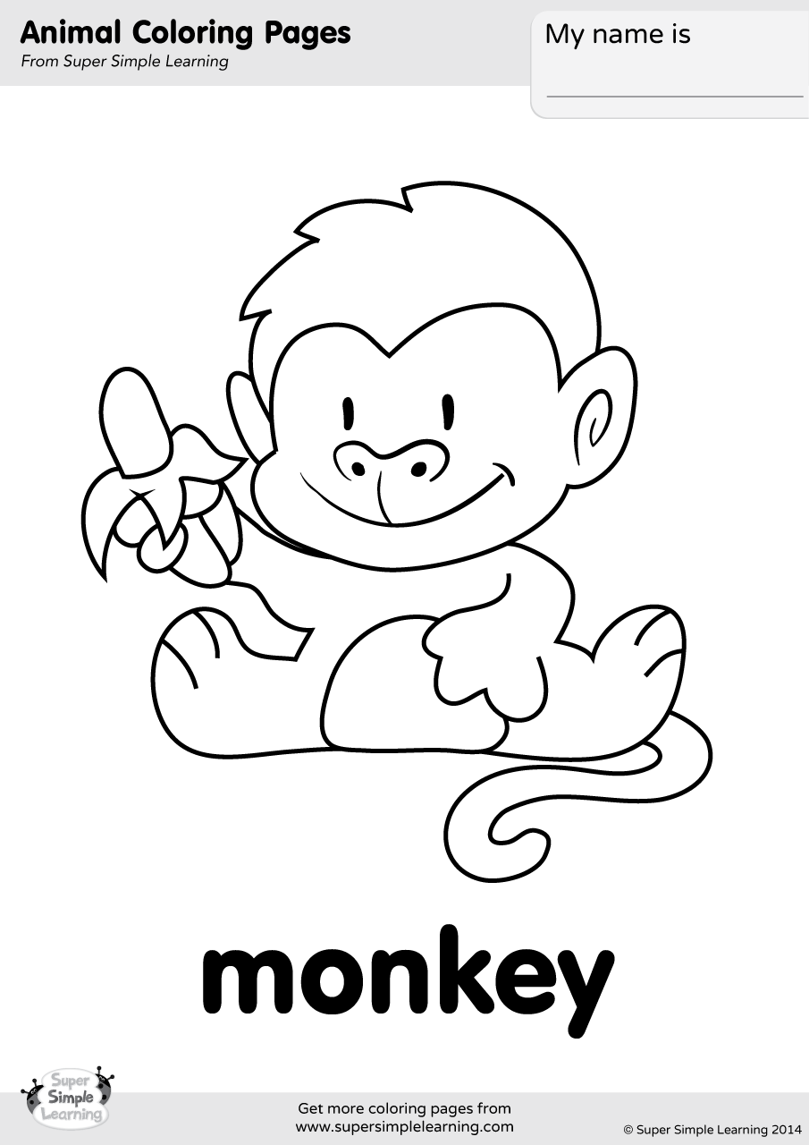 Monkey Coloring Page | Super Simple