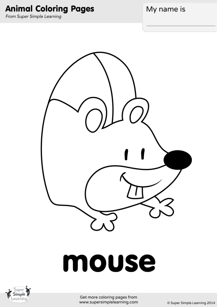 Mouse Coloring Page Super Simple