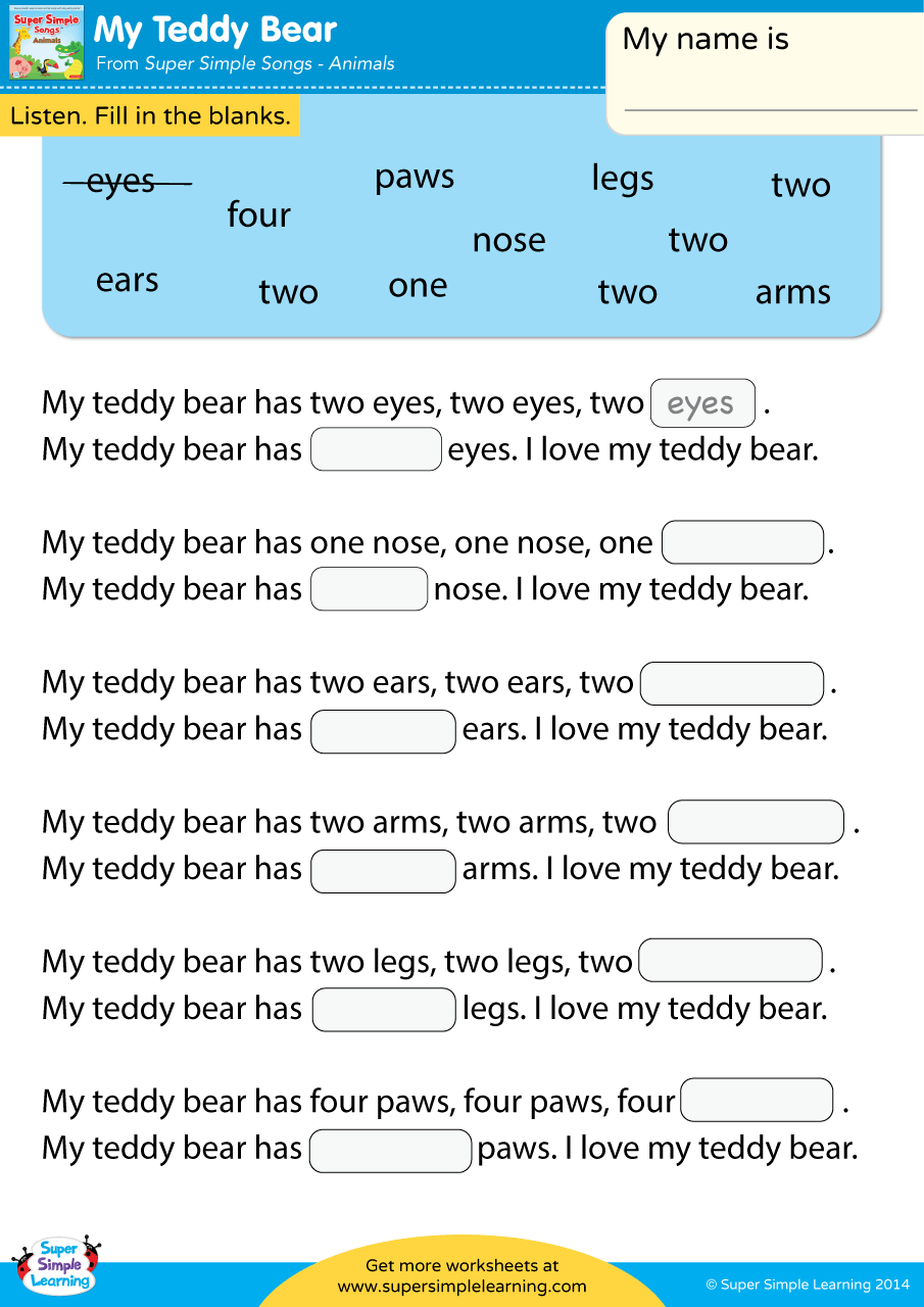 My Teddy Bear Worksheet – Fill In The Blanks | Super Simple