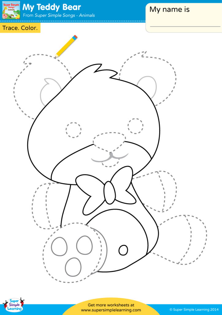 My Teddy Bear Worksheet - Trace & Color - Super Simple