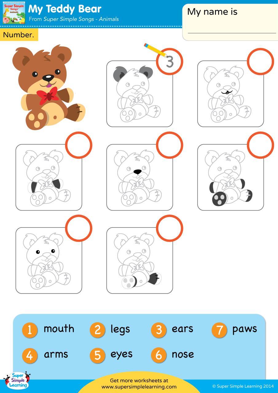 My Teddy Bear Worksheet Write The Number Super Simple