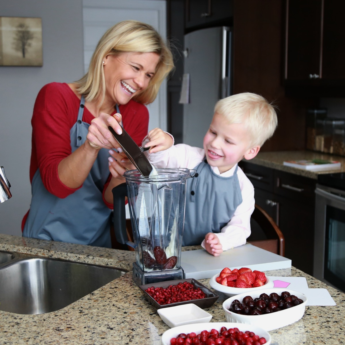 Son and Mom in the Kitchen
