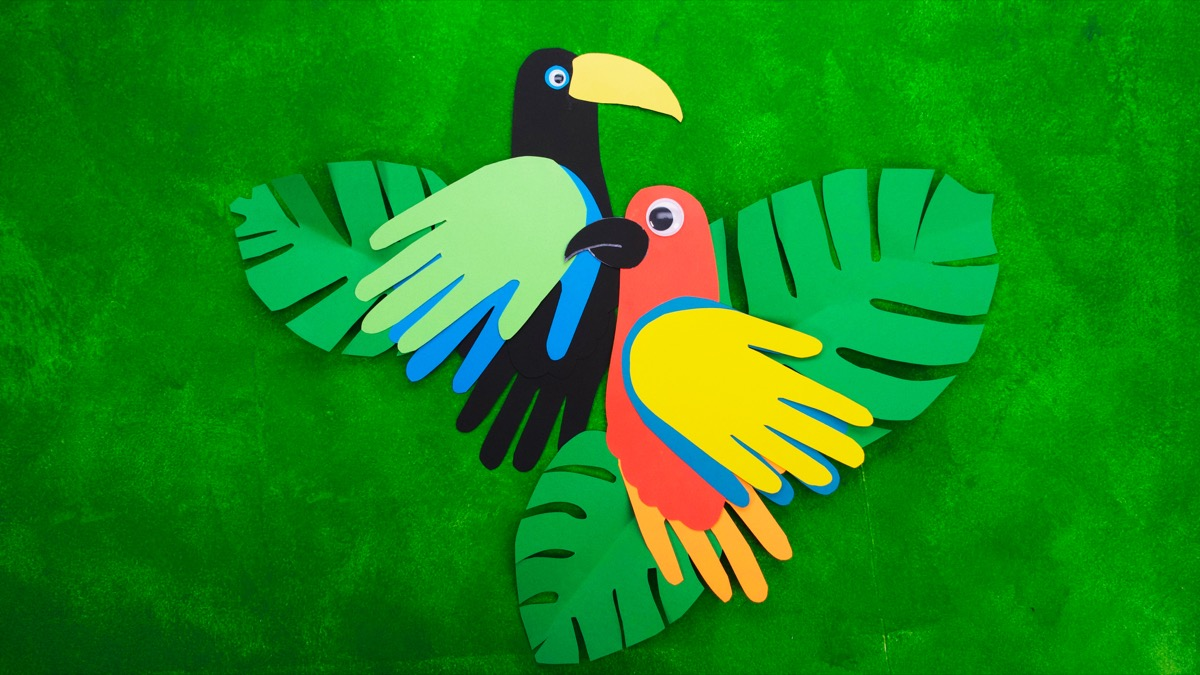 Parrot Craft with Foot and Hand Cut Outs