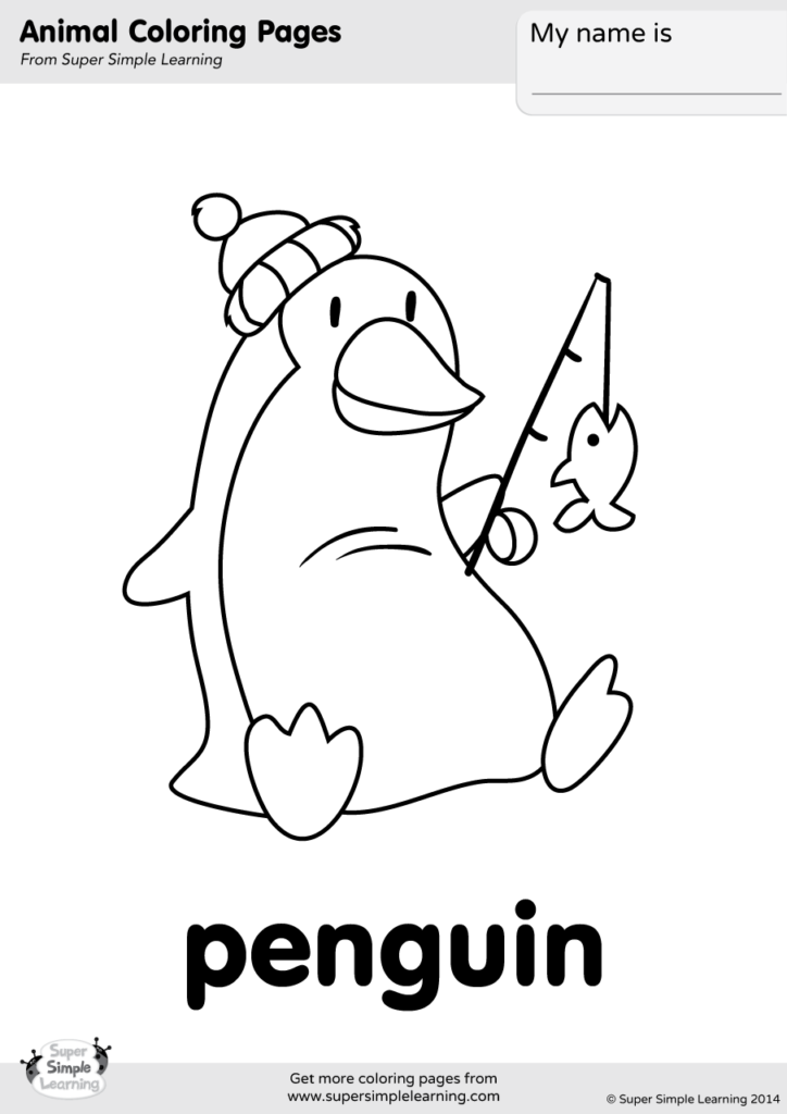 Penguin Coloring Page Super Simple