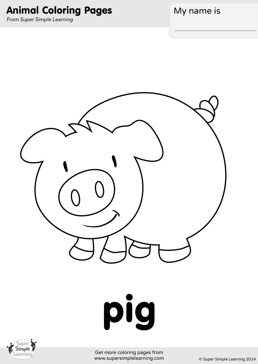 Pig Coloring Page - Super Simple