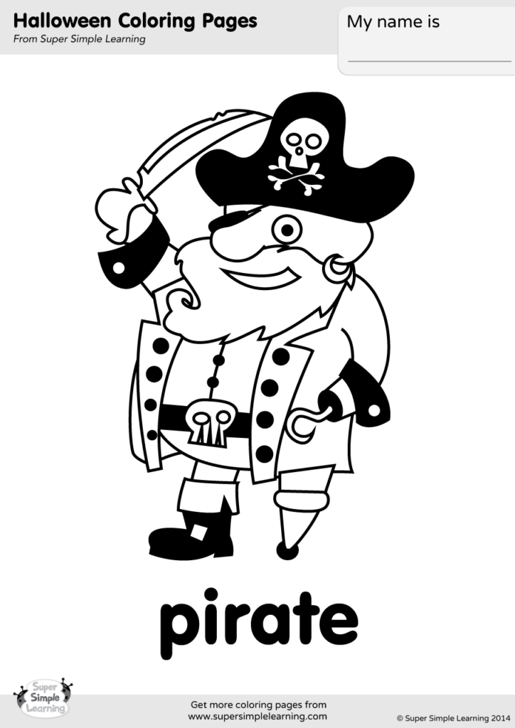 Pirate Coloring Page Super Simple