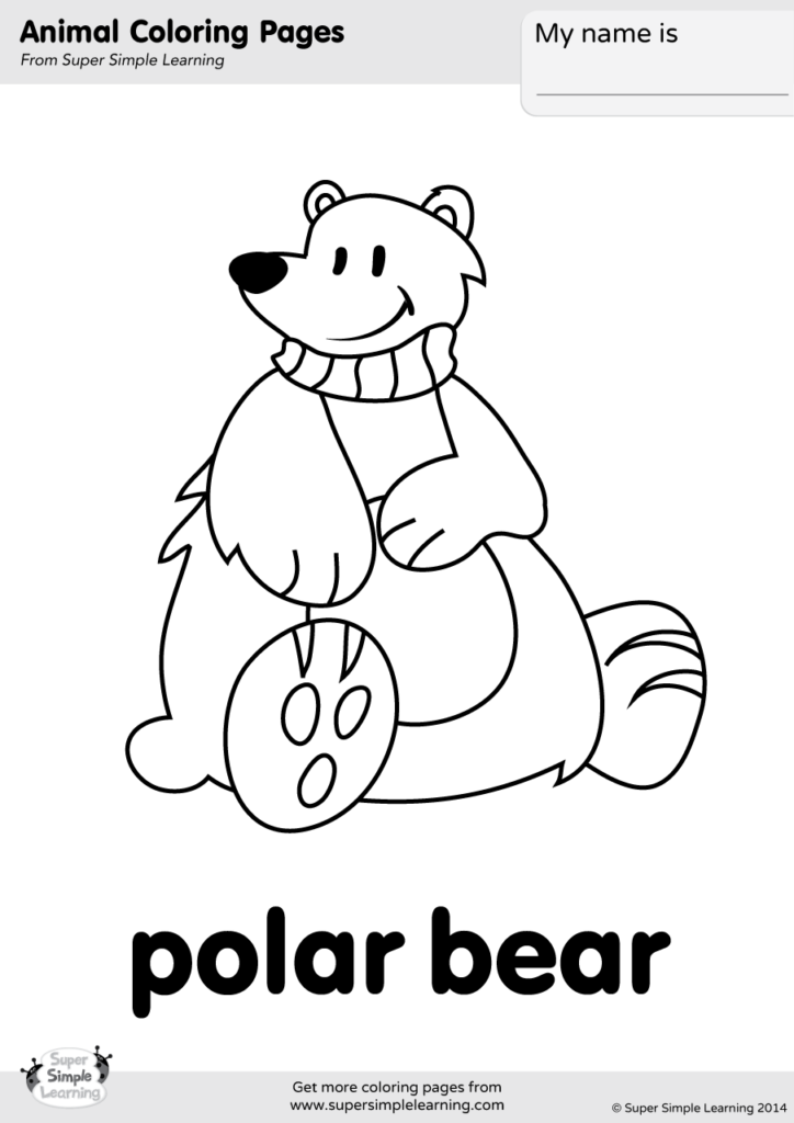 Polar Bear Coloring Page Super Simple