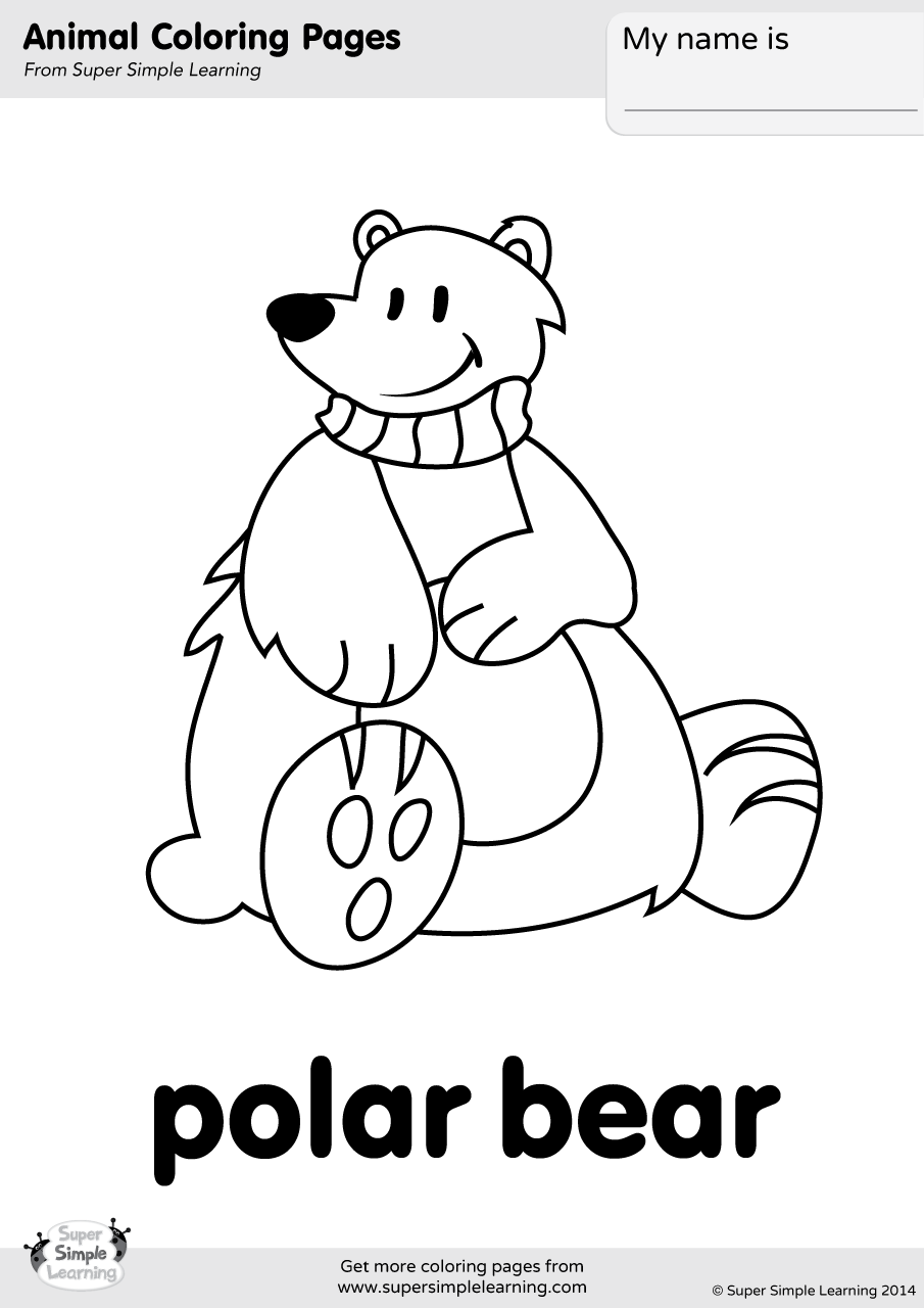 Polar Bear Coloring Page - Super Simple