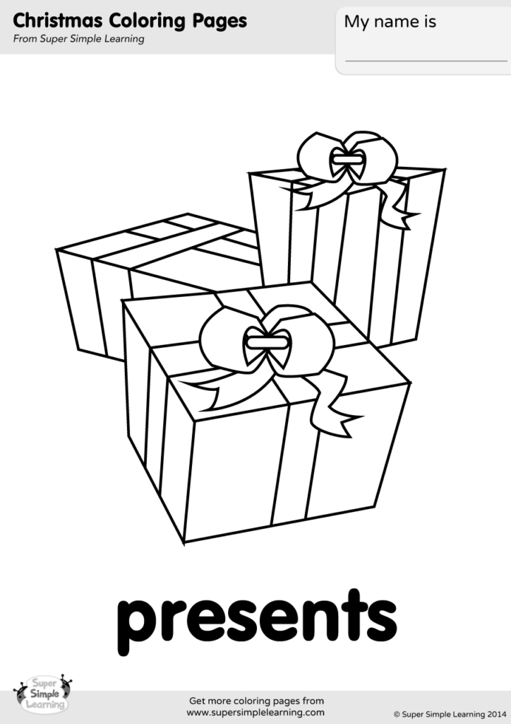 Presents Coloring Page Super Simple
