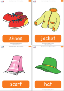 put on your shoes flashcards super simple