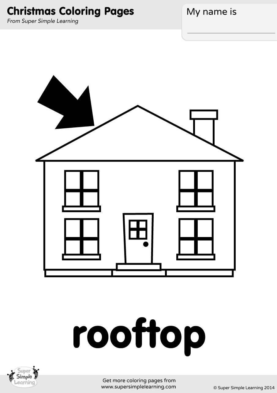 Rooftop Coloring Page Super Simple