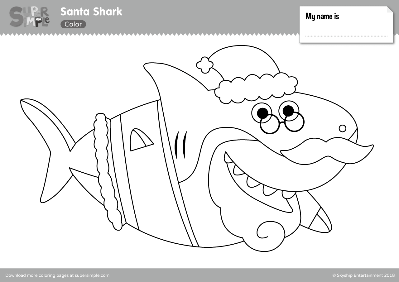 Santa Shark Coloring Pages - Super Simple