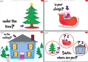 """It's Christmas Eve. Where is Santa? Practice prepositions of place and locations as you search for Santa in the song, """"Santa, Where Are You?"""""""