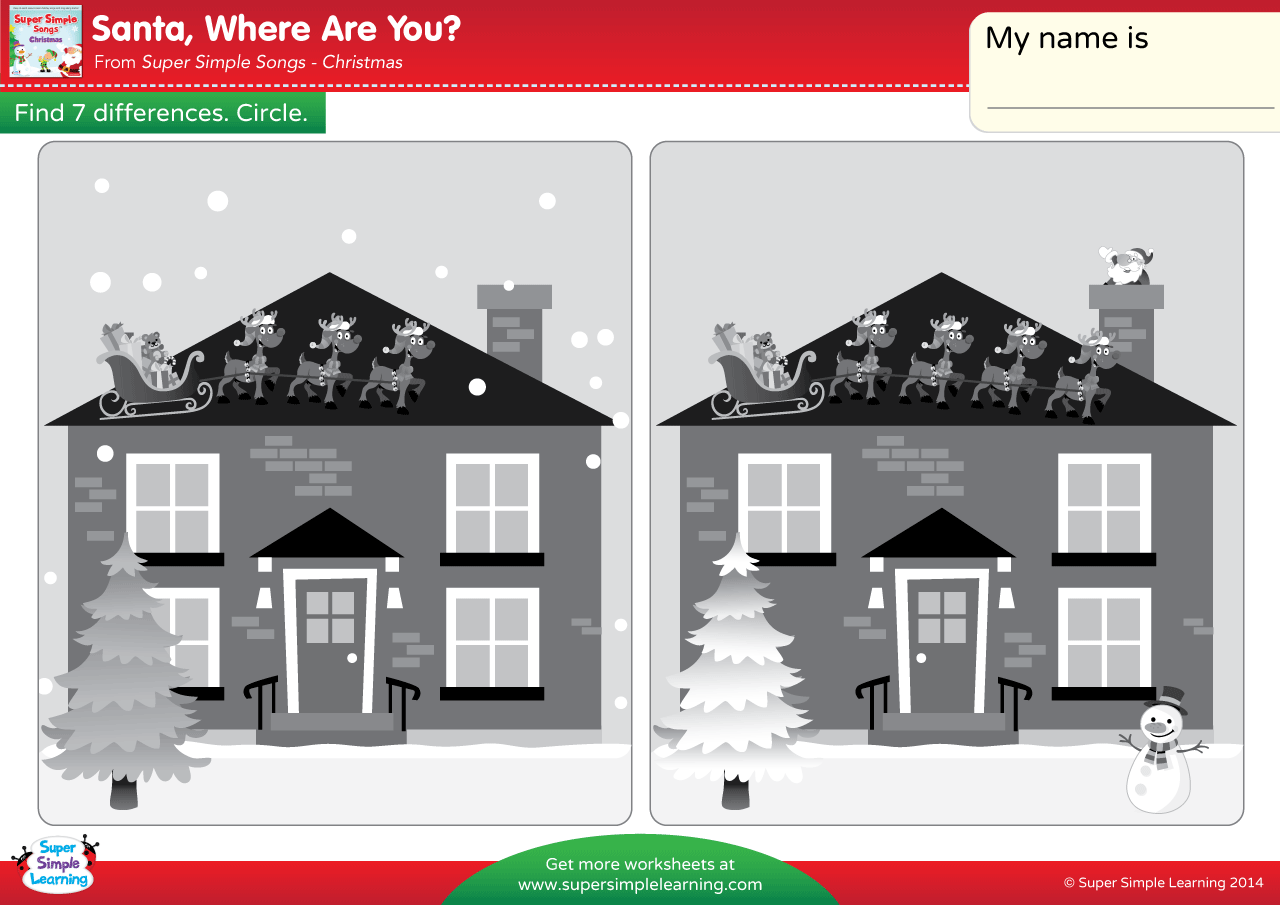 santa where are you worksheet find the differences
