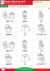 Santa Where Are You Worksheet Prepositions Of Place