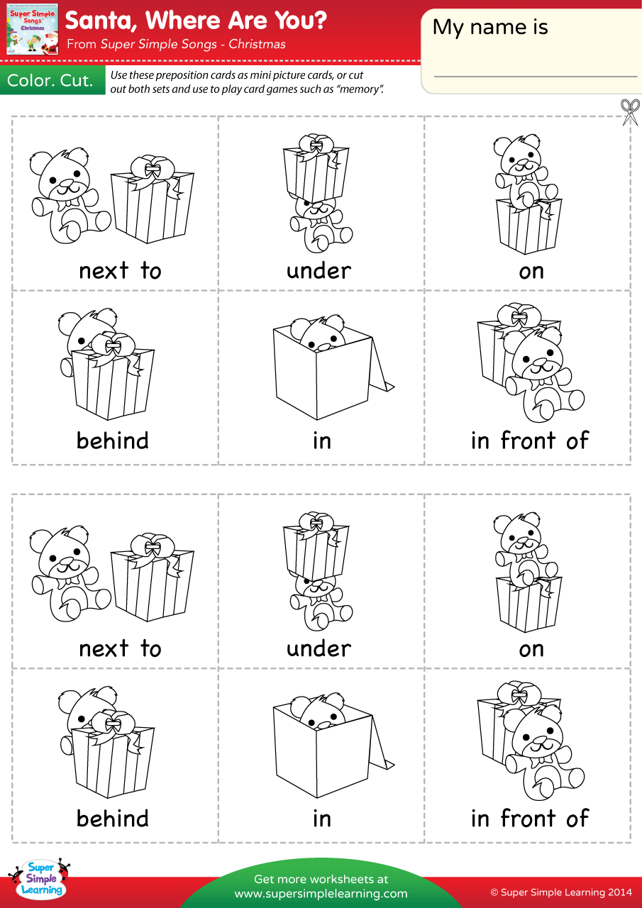 Worksheets Prepositions Worksheets santa where are you worksheet prepositions of place super simple simple