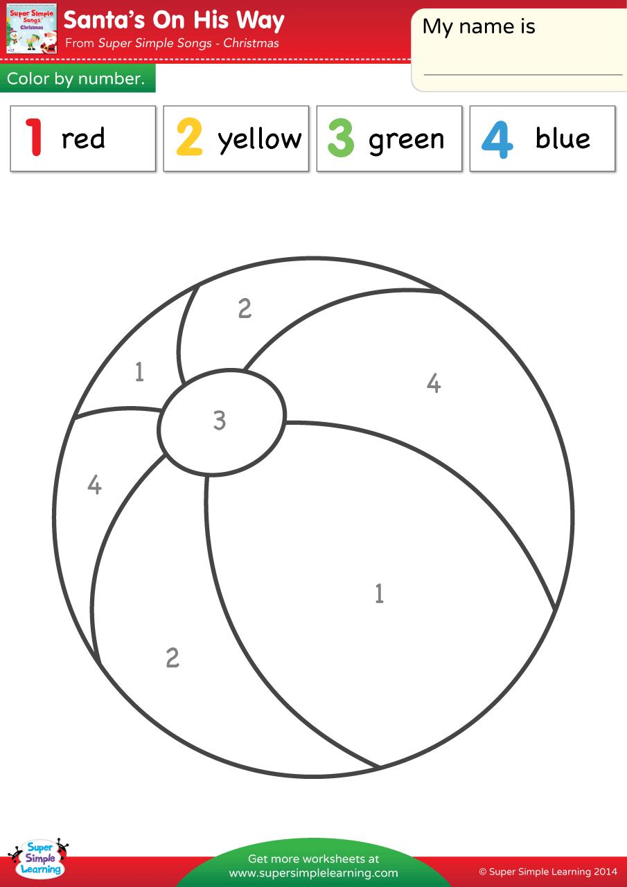 Santa S On His Way Worksheet Color By Number Super Simple