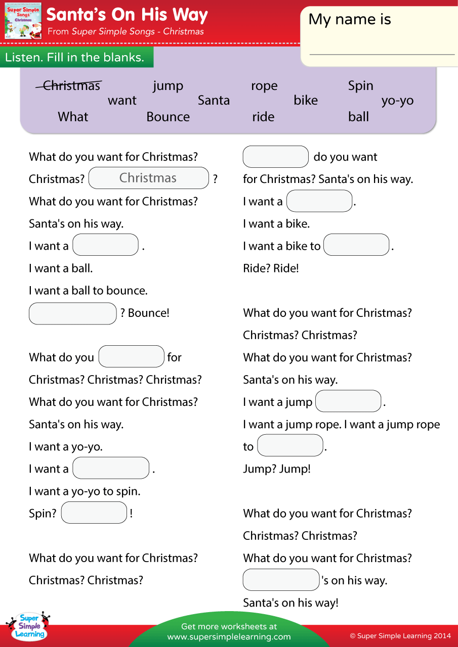 Santa 39 s On His Way Worksheet Fill In The Blanks Super