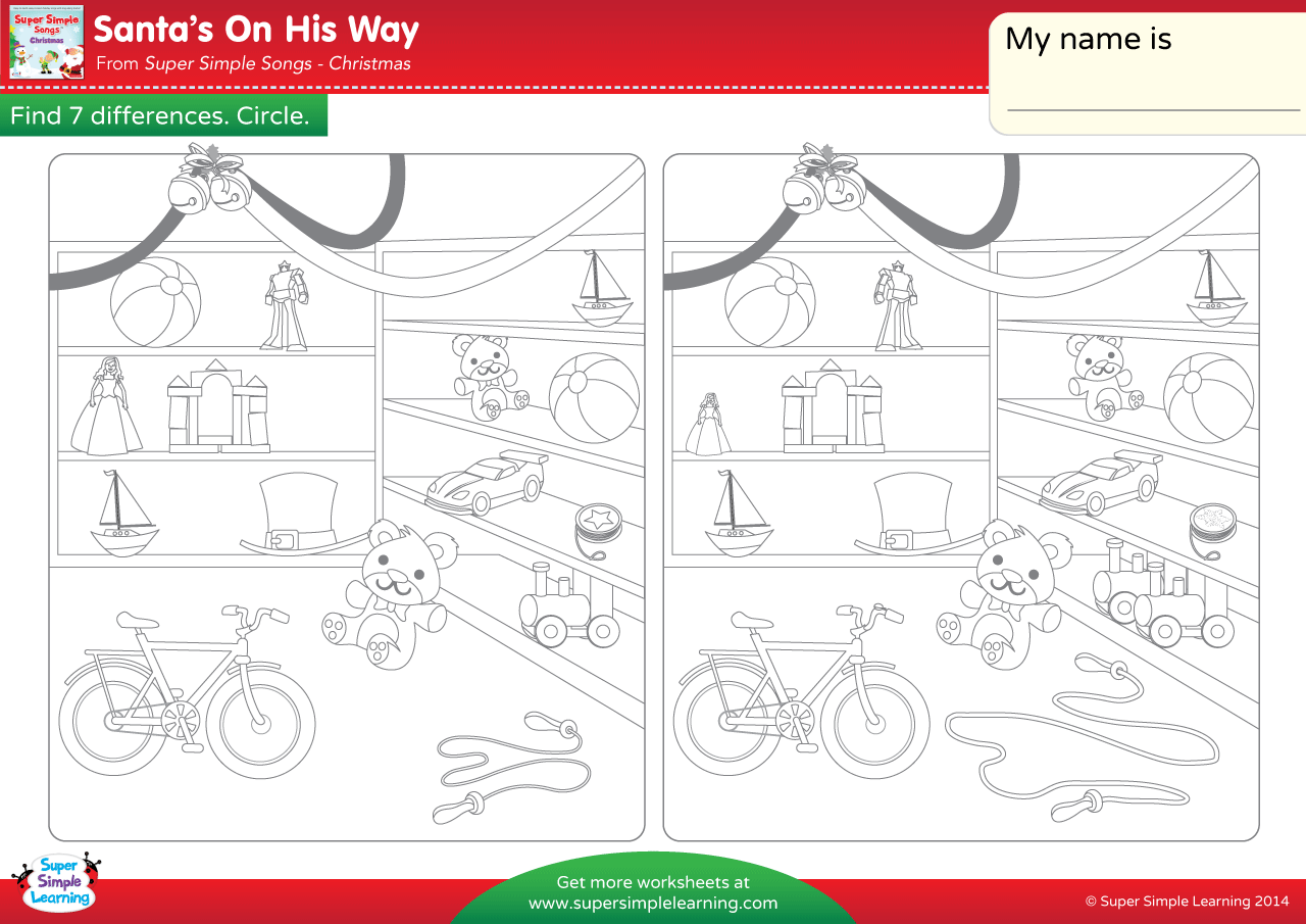 Santa\'s On His Way Worksheet – Find The Differences | Super Simple