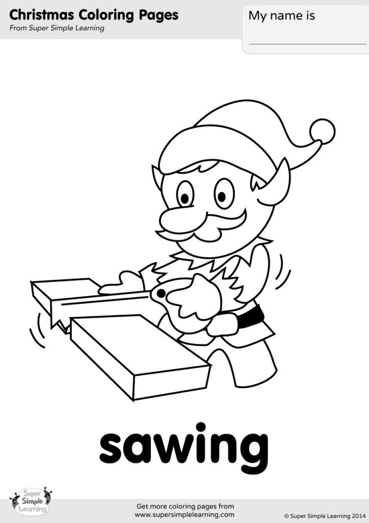 Sawing Coloring Page Super Simple