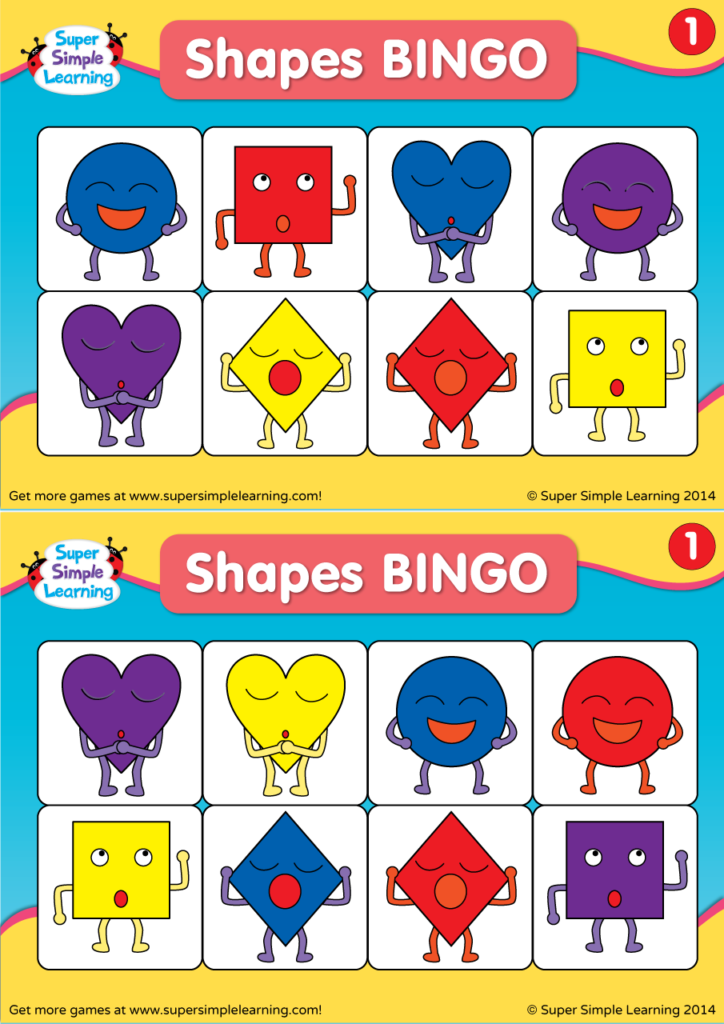 picture about Shape Bingo Printable known as Designs BINGO 1 - Tremendous Very simple