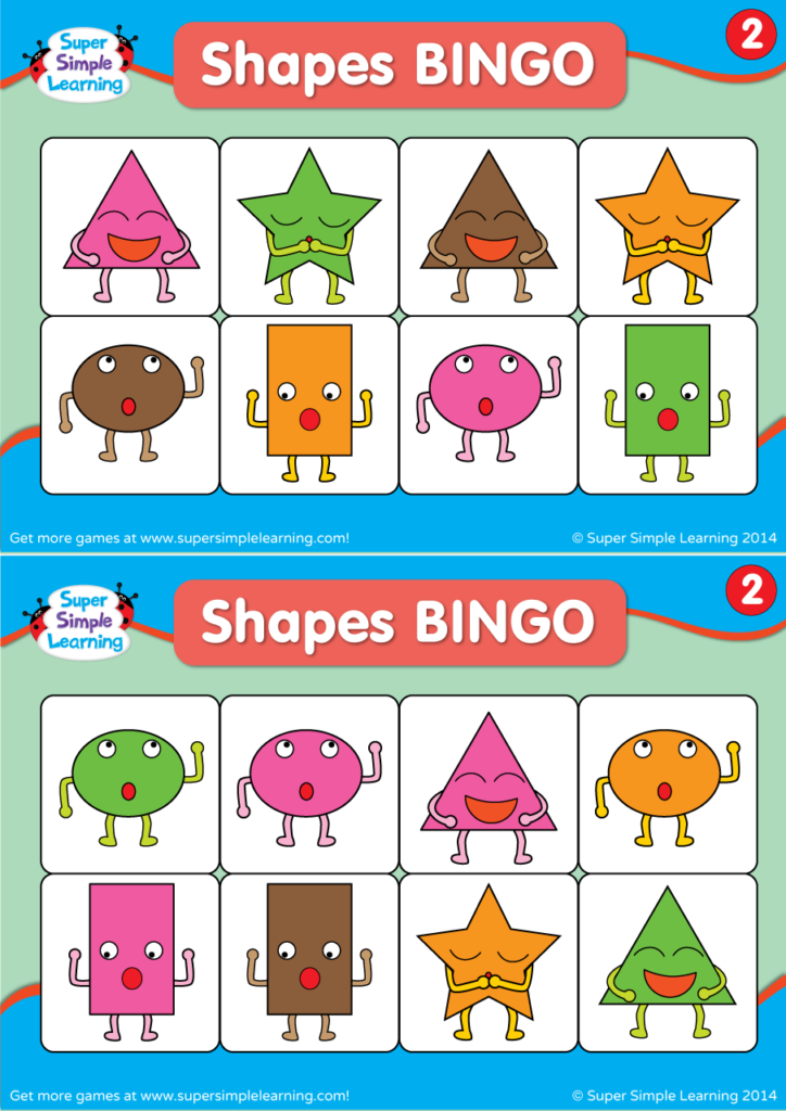 graphic regarding Shape Bingo Printable named Designs BINGO 2 - Tremendous Uncomplicated