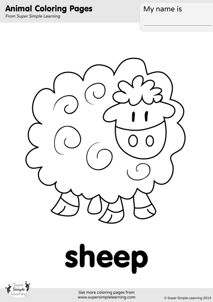 Sheep Coloring Page Super Simple