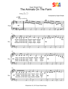 The Animals On The Farm - Sheet Music