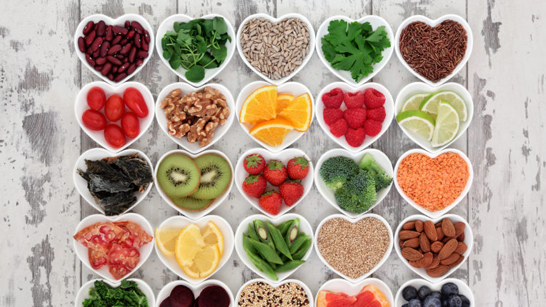 Fruits and Veggies in Heart Dishes