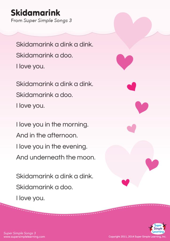 Skidamarink Lyrics Poster - Super Simple