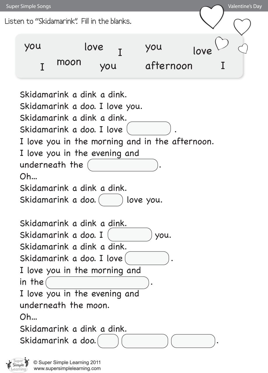 Skidamarink Worksheet – Fill In The Blanks   Super Simple