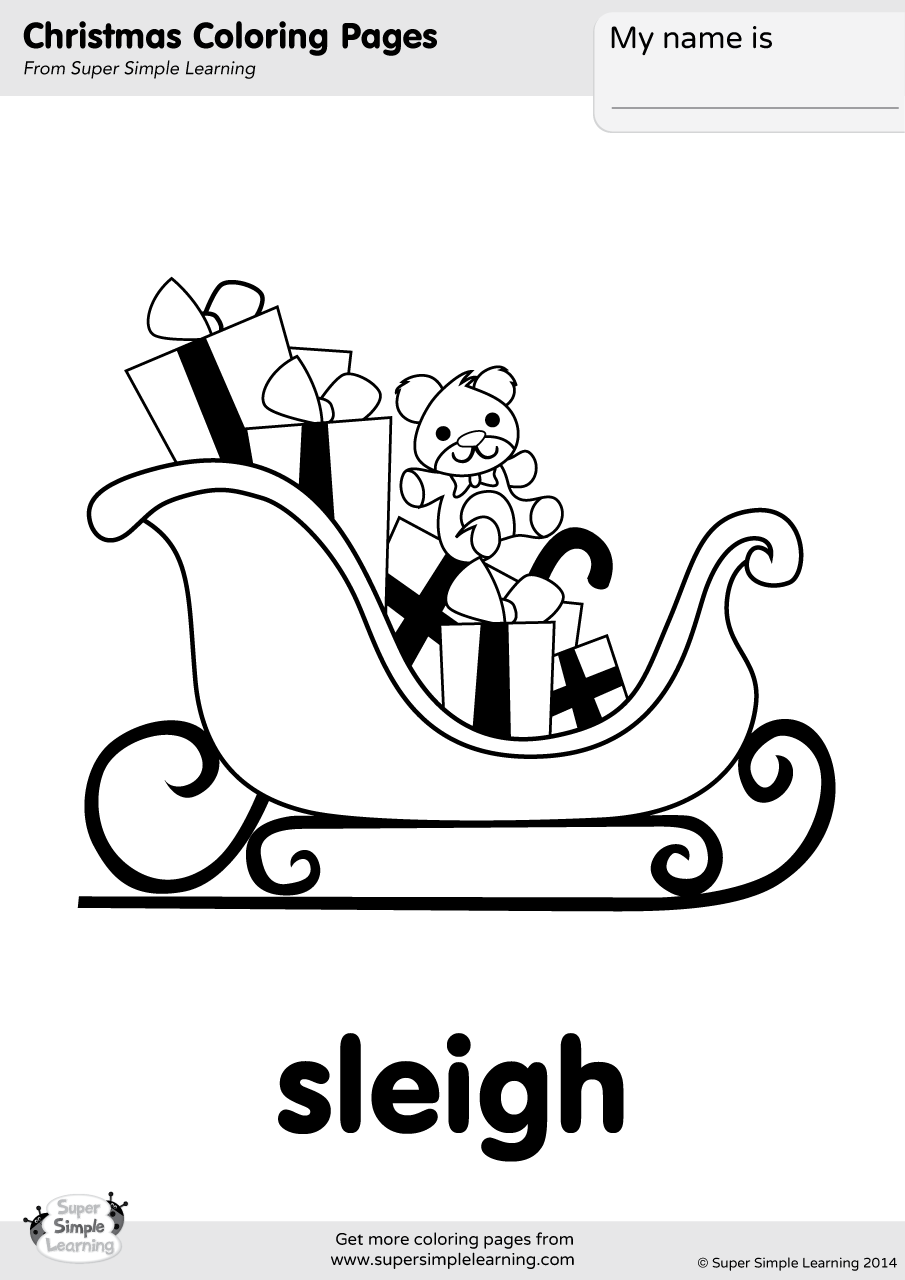 Sleigh Coloring Page Super Simple