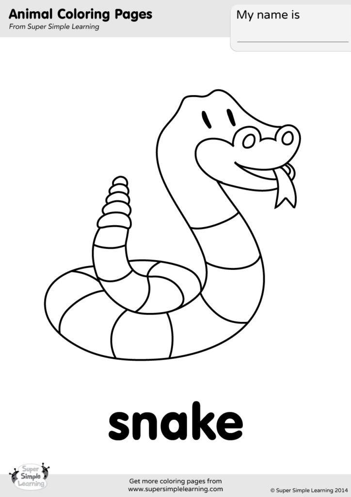 Snake Coloring Page Super Simple