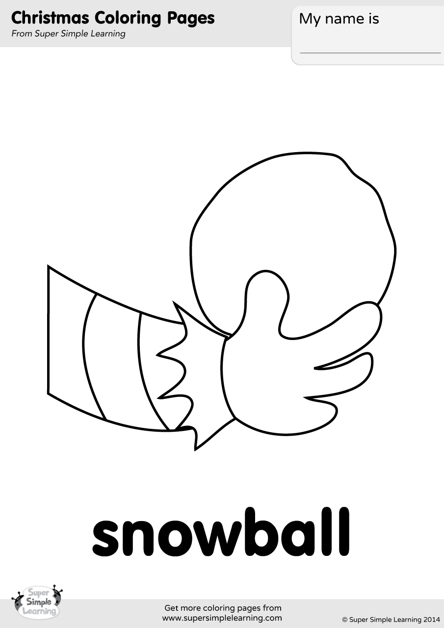 Snowball Coloring Page Super Simple