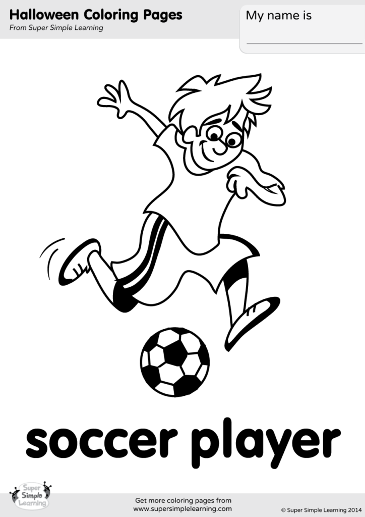 Soccer Player Coloring Page Super Simple