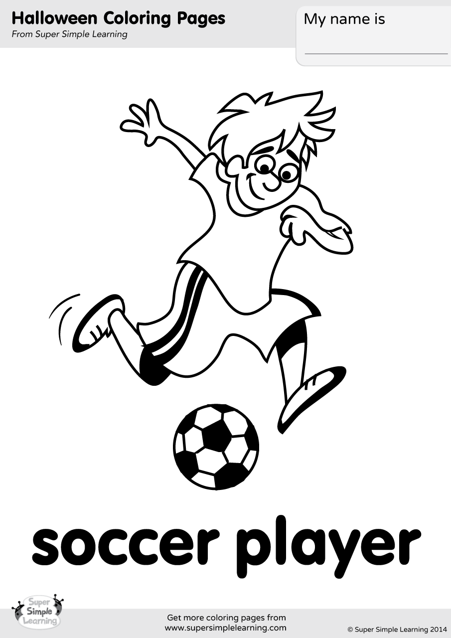 Soccer Player Coloring Page - Super Simple