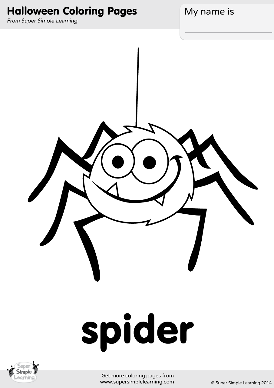 Spider Coloring Page | Super Simple