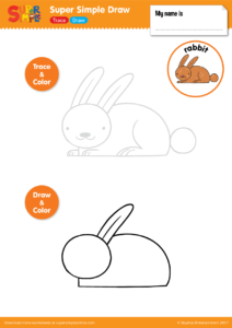 Learn How To Draw A Rabbit With This Easy To Use Worksheet. Begin By  Tracing The Outline On The Top Half Of The Page And Coloring Your Artwork.