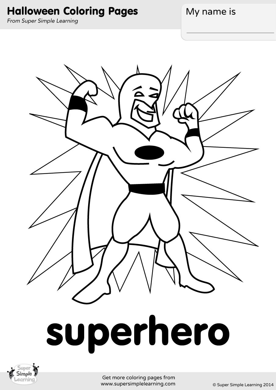 Superhero Coloring Page Super Simple