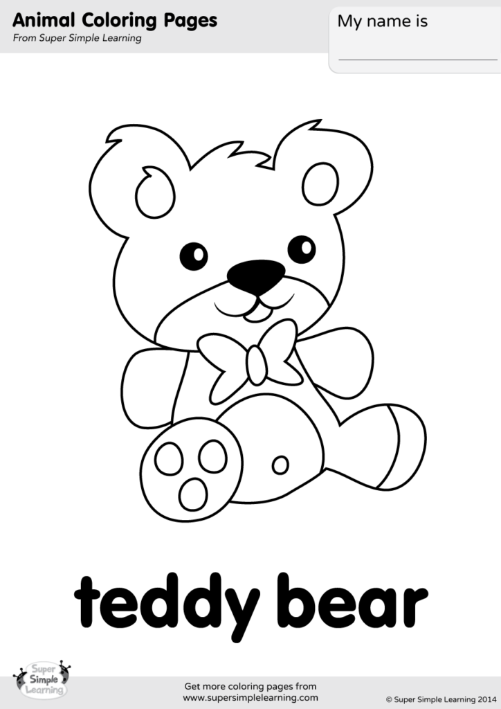 Teddy Bear Coloring Page - Super Simple