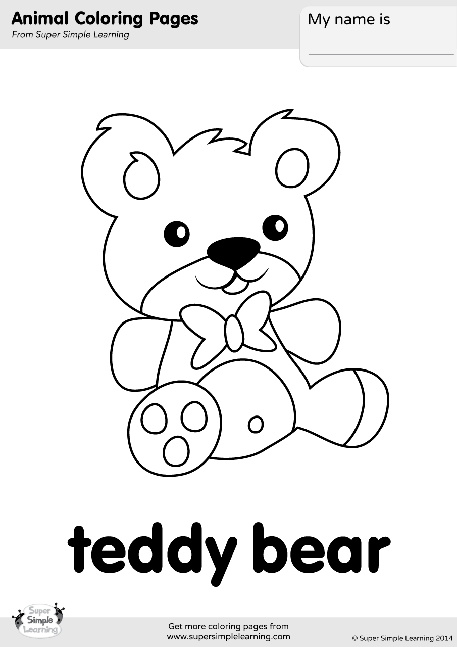Teddy Bear Coloring Page Super Simple