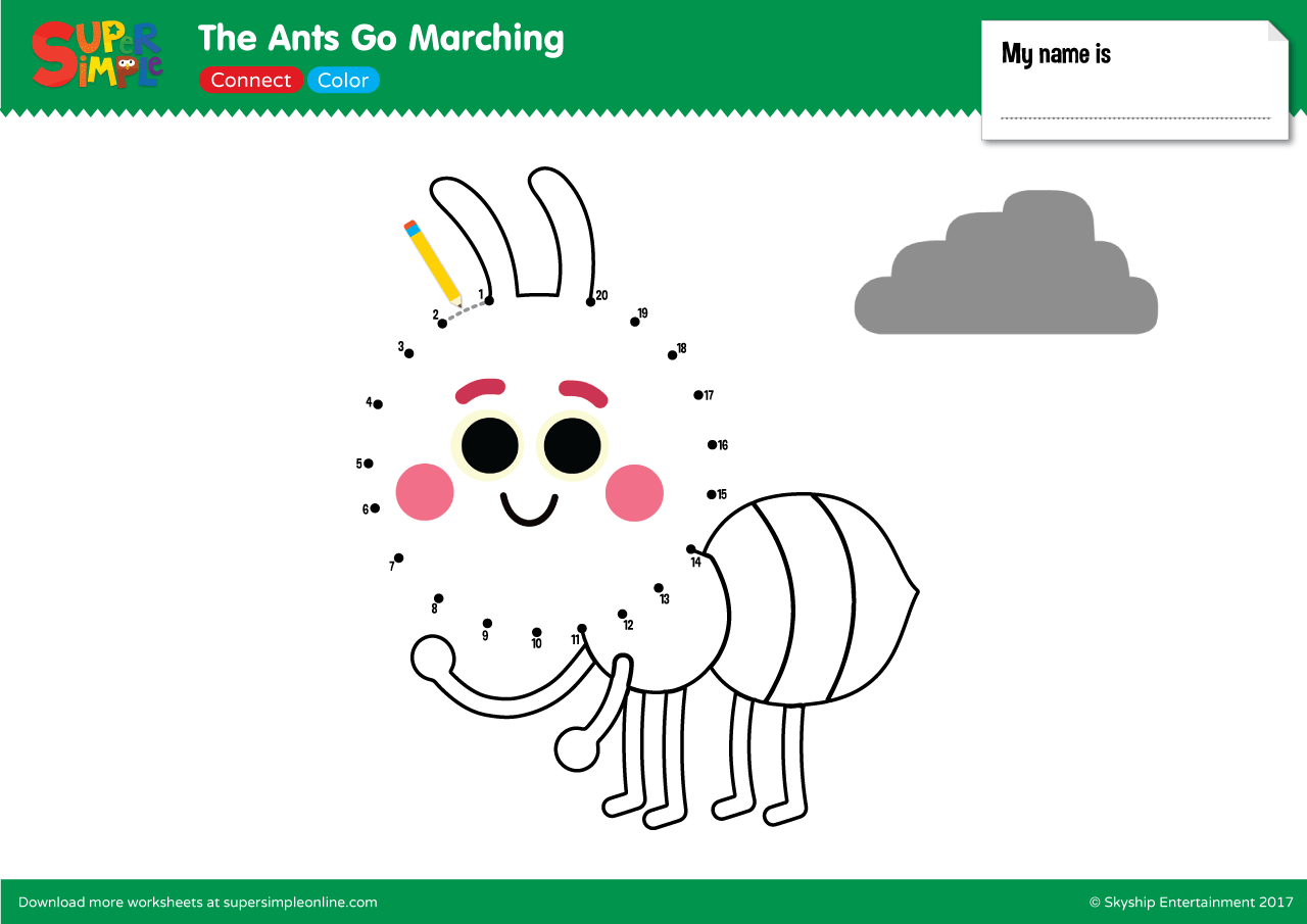 The Ants Go Marching – Connect & Color   Super Simple