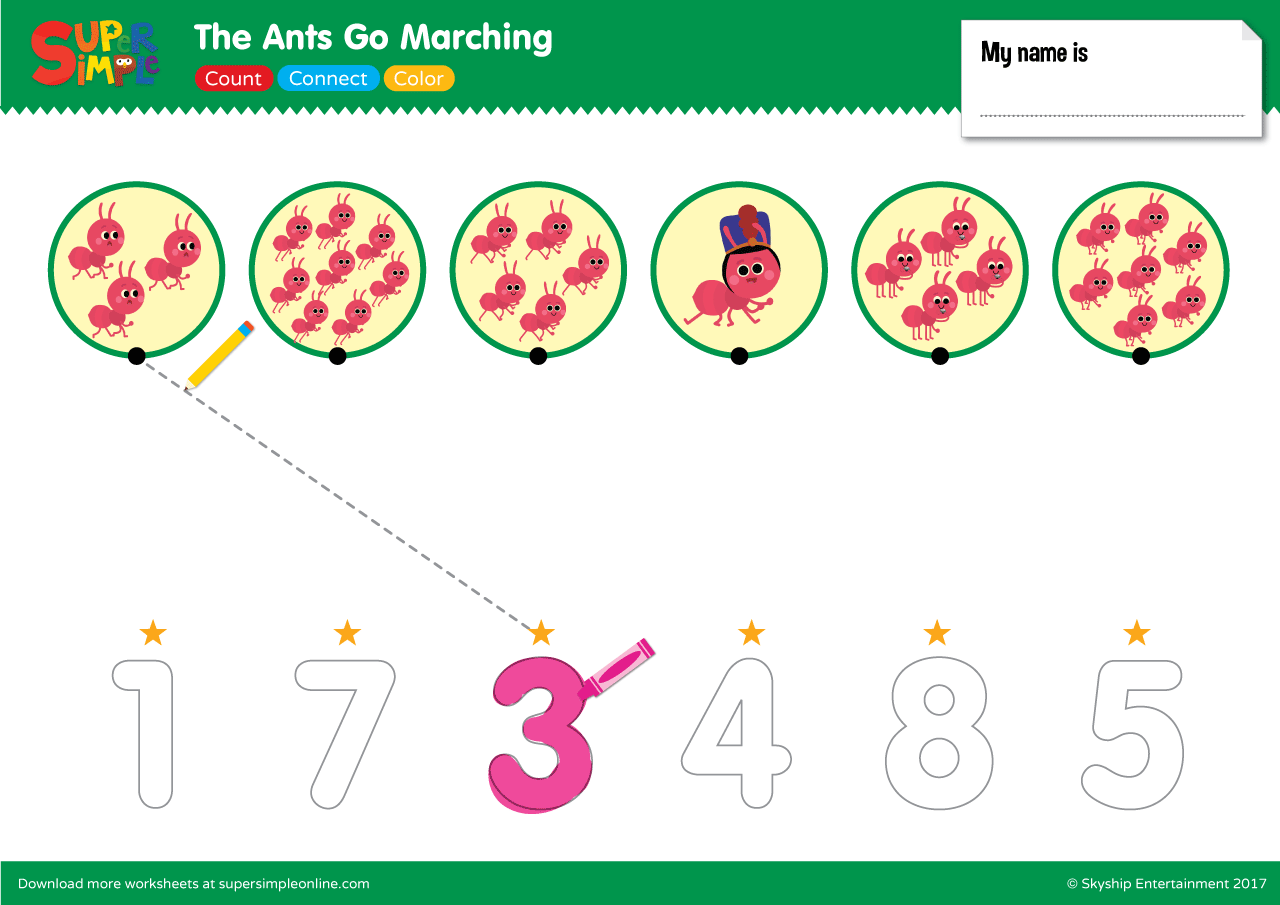 The Ants Go Marching – Count, Connect, Color   Super Simple